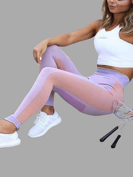 Active Contrast Colour Stitching Elastico Vita Sport Leggings