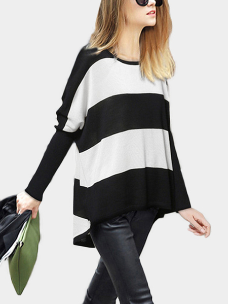 White Stripe Round Neck Long Sleeves Sweater