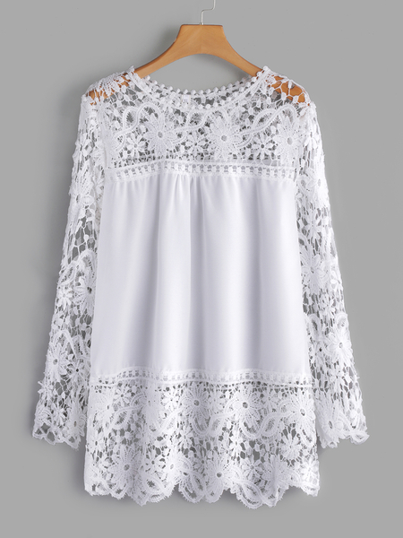 Plus Size White See-through Lace Insert Top