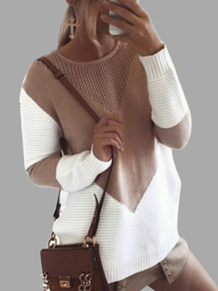 Khaki Stricken Patchwork Pullover mit Hollow Out Design