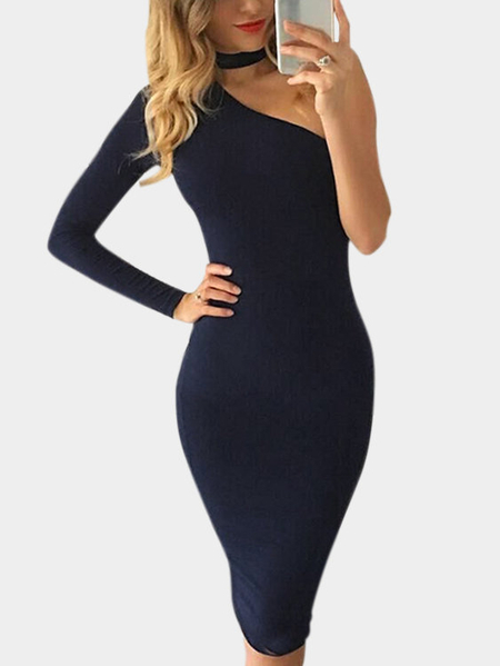 Vestido Deep Blue Bodycon One Shoulder Midi