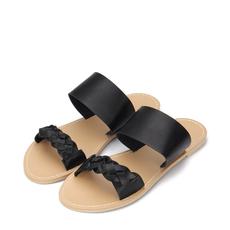 Black Leather Look Strap Flat Slippers With Woven Strap