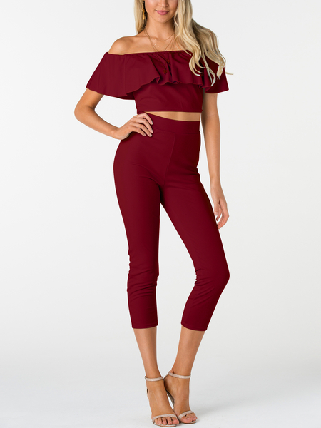 Burgundy Off-The-Shoulder Ruffle Design Two Piece Outfits