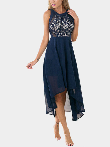 Sexy Round Neck Sleeveless Blue Lace Dress