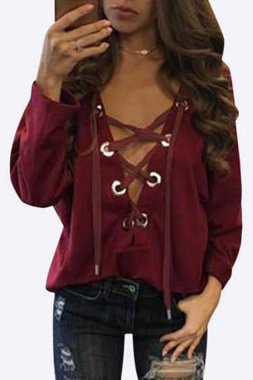 Lace-up Front Design Top casual em Burgundy