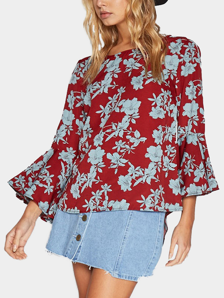 Red Floral Print Round Neck Flared Sleeves Chiffon Blouse