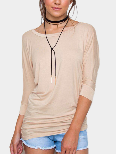 Nude Solid Color Round Neck Long Sleeves T-shirt