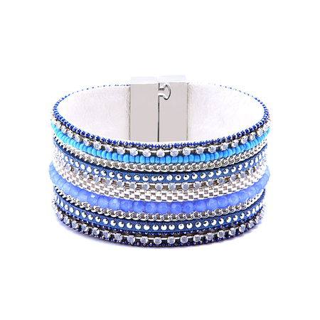 Light Purple Embellished Gemstone Magnetic Cuff Bracelet
