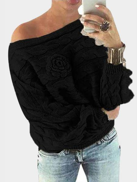 Black Off Shoulder Bat-wing Sleeves Random Point Floral Sweater