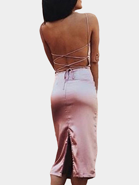 Pink Satin Lace-up & Backless Thigh-Slit Midi Slip Dress