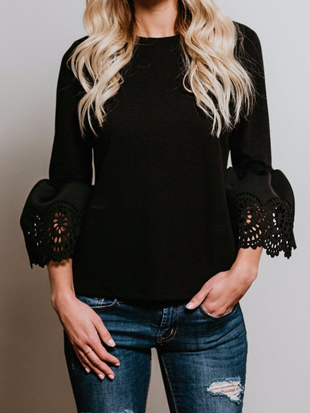 Black Lace Details Crew Neck Bell Sleeves Blouses
