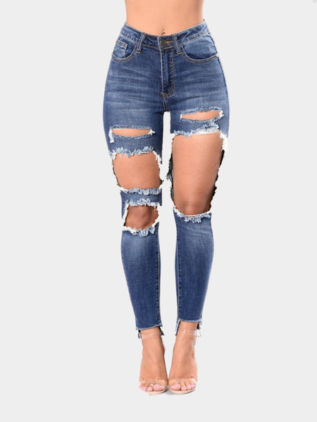 Dark Blue Middle Waist Ripped Jeans