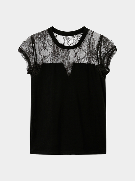 Black Hollow Out Lace Crew Neck T-shirt