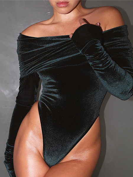 Black Velvet Sexy Off Shoulder Long Sleeves Bodysuit