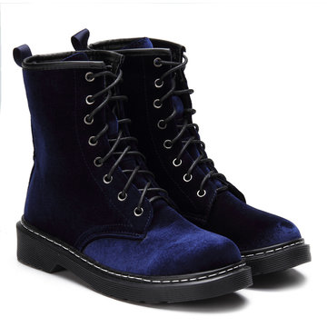 Navy Velvet Lace-up Design Short Boots