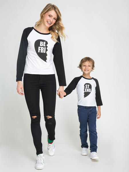 Mommy and Me Letter Pattern Round Neck Long Sleeves T-shirt in Black
