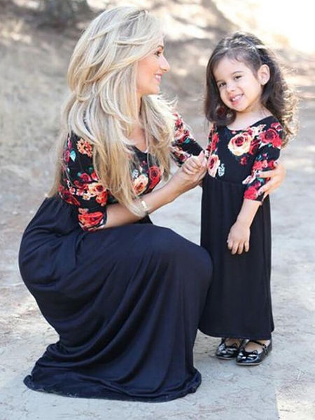 Mommy and Me Dark Blue Random Floral Print Matching Dresses