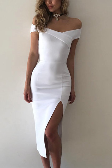 White Off The Shoulder High Waist Bodycon Vestido Midi