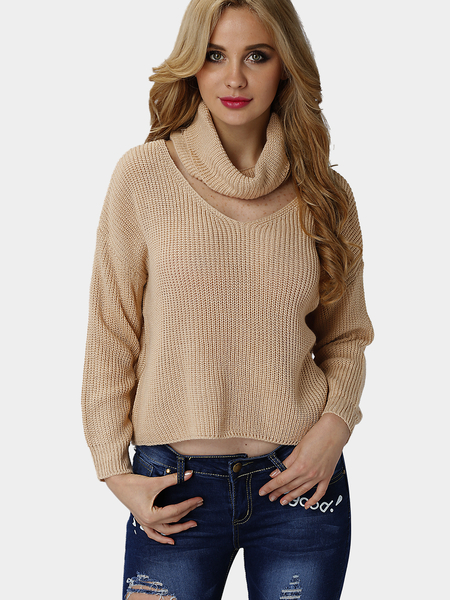 Khaki Casual High Neck Hollow Drop Shoulder Jumper
