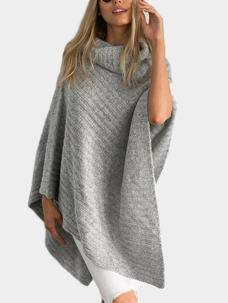Grey Pullover Cape Design Irregular Hem Sweater