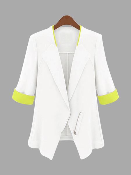 White Fashion Zipper Front Blazer with 1/2 Length Sleeves