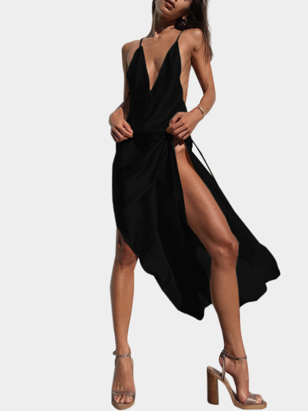 Black Satin Deep V-neck Splited Hem Maxi Slip Dress