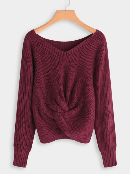 Red Plain V-neck Long Sleeves Knnotted Front Sweaters