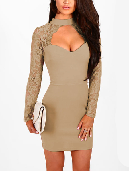 Khaki Sexy Crew Neck Lace Sleeves Mini Dress With Cut Out Detail