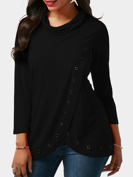 Black Splited Design Roll Neck Long Sleeves T-shirt With Eyelet