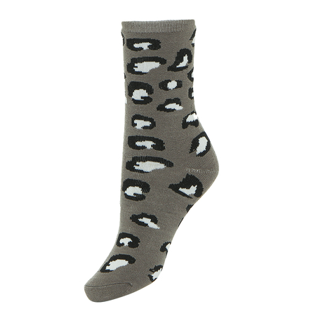 Leopard Print Chunky Cozy Ankle Socks in Grey