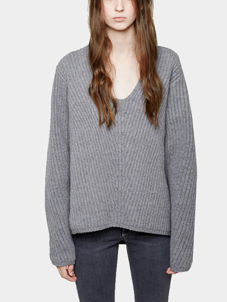 Grey V-neck  High Low Hem Threaded Loose Jumper