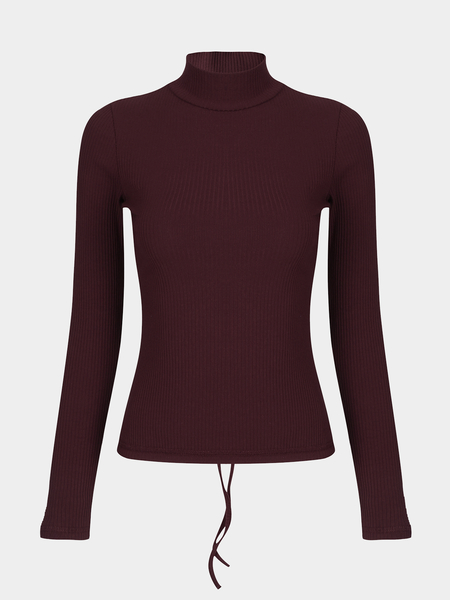Burgundy High Neck Self-tie Back Long Sleeves T-shirt