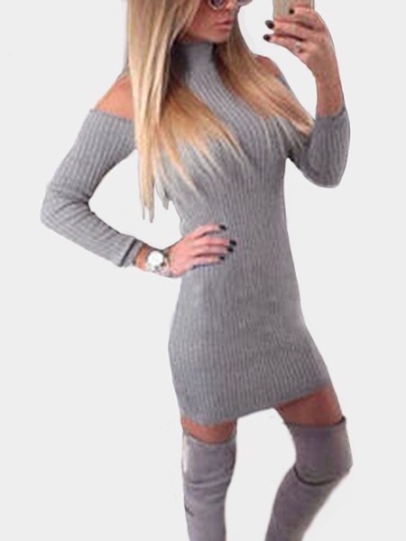 Light Grey Cold Shoulder Long Sleeves Sweater Dress