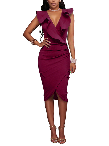 Burgundy Crossed Front Design Zip Side Ruffle V-neck Midi Dress