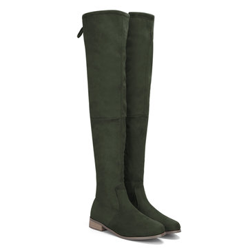 Buy Green Suede Lace-up Back Knee High Boots
