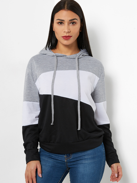 Color Block Style Pullover Long Sleeves Stitching Sweatshirt