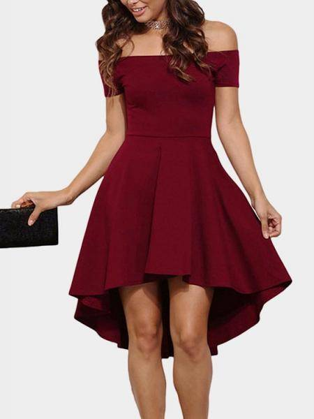 Burgundy Sexy Off Shoulder Irregular Hem Dress