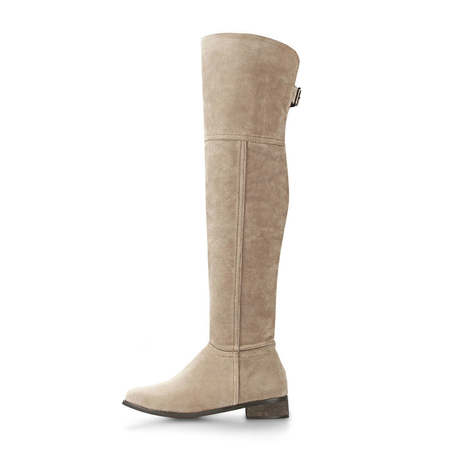 Apricot Over The Knee Suedette Boots with Buckle Details