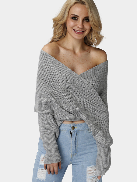Grey Cross Front Design Knit Cape