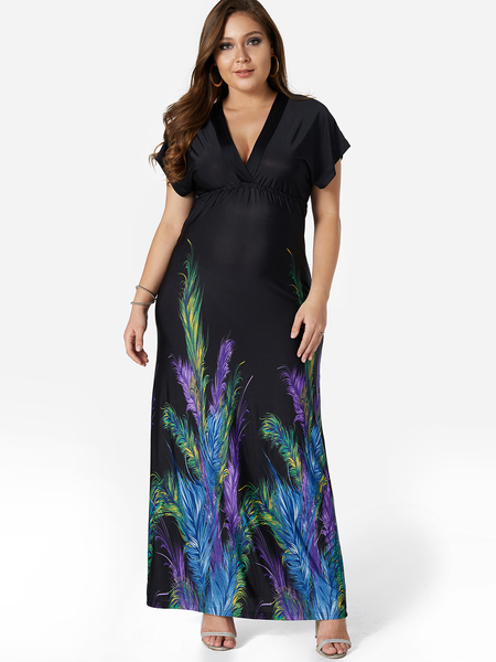 Black Leaf Print V-Neck Maxi Dress
