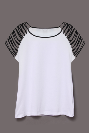 White Strap Shoulder Short Sleeve Top