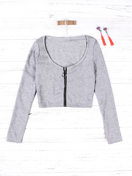 Grey Zip Design Scoop Neck Long Sleeves Top