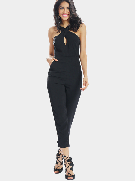 Black Halter Collar Skinny Jumpsuit