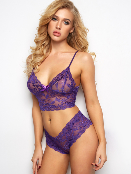 Purple V-neck Bowknot Lace Details Lingerie Set