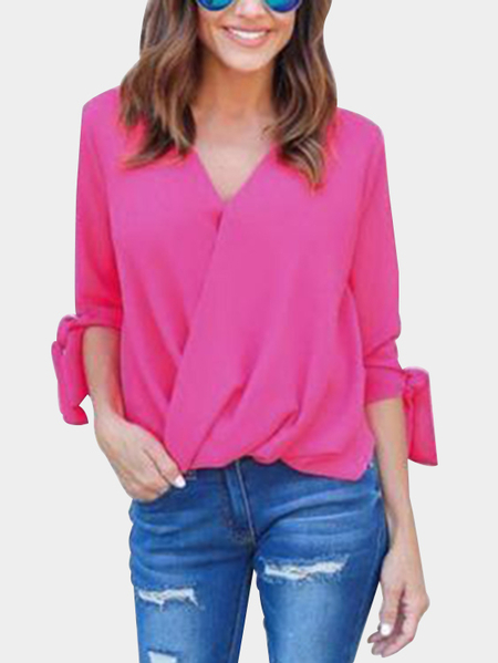 Rose Casual Deep V-neck Surplice Drape Top