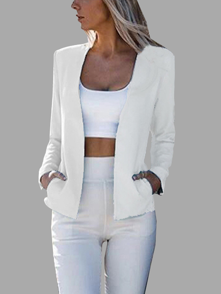 White Open Front Collarless Long Sleeves Slim Suit Coat