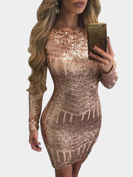 Shiny Gold Backless Design Crew Neck Long Sleeves Party Dress