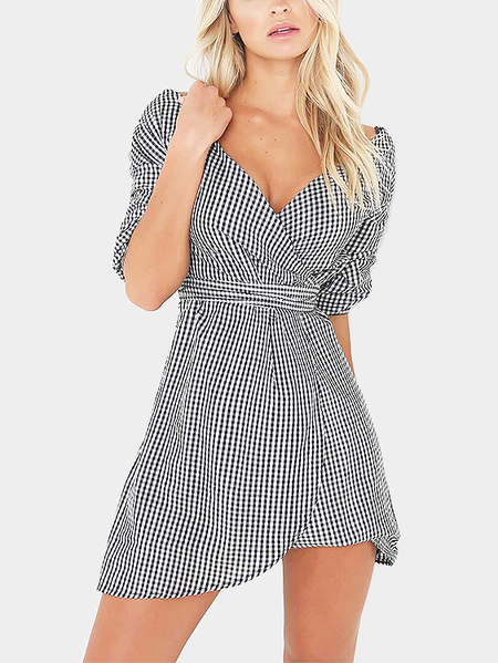 Grid Pattern V-neck Self-tie Design Dress