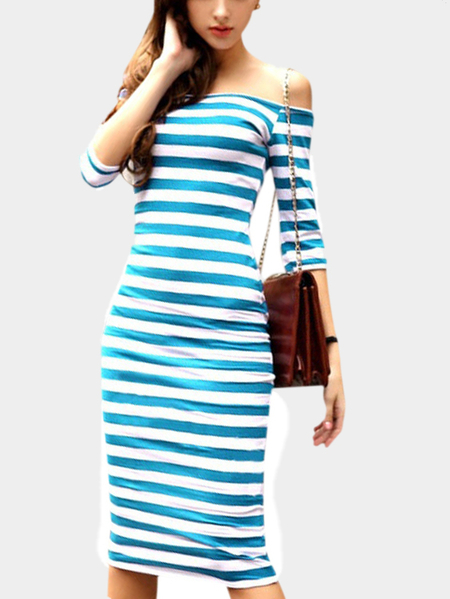 Bodycon Off Shoulder Stripe Pattern Midi Dress