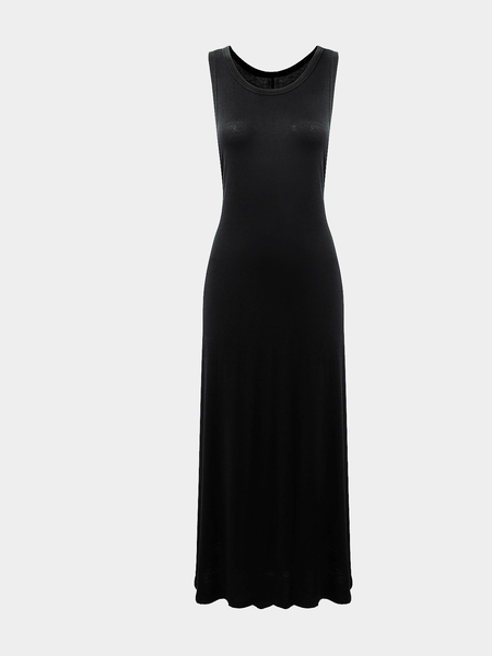 Black Sleeveless Midi Dress with Side Slit